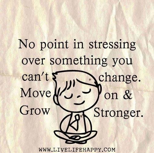 No Point In Stressing Over Something You Can't Change. Move On & Grow Stronger.
