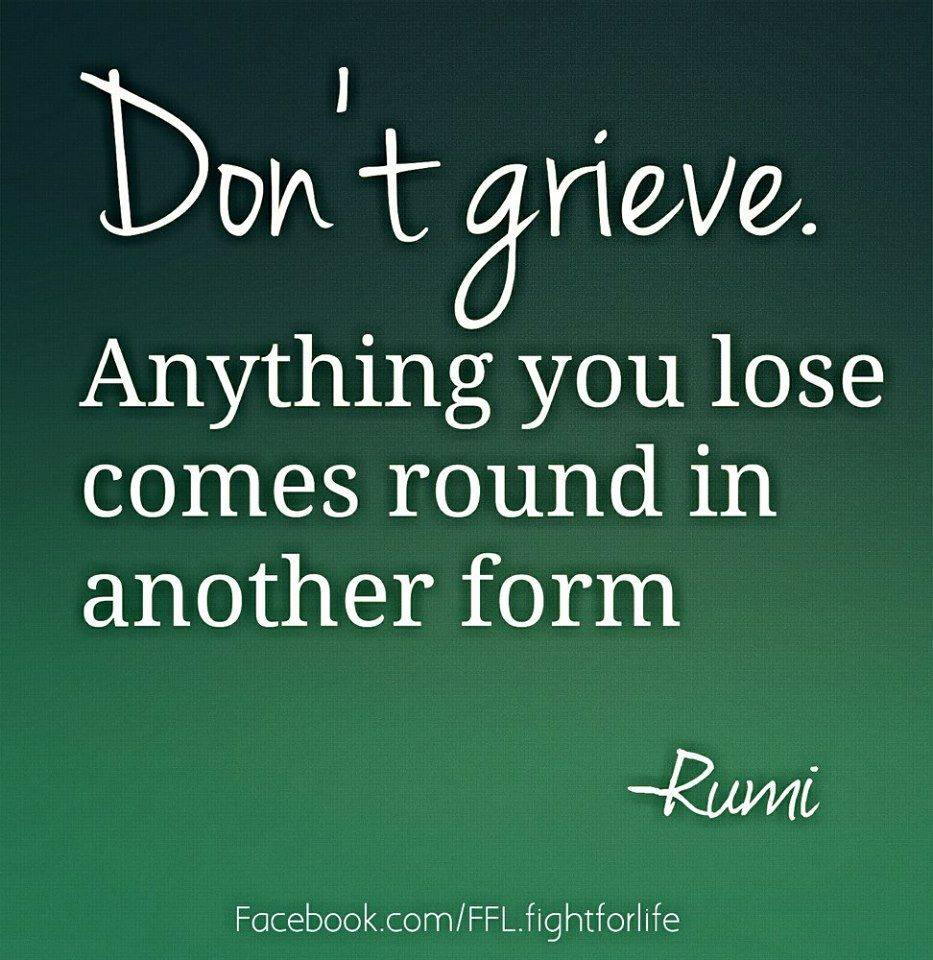 Don't Grieve.Anything You Lose Comes Round In Another Form.  ~  Rumi